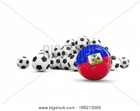 Football With Flag Of Haiti Isolated On White