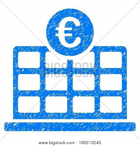 Grunge Euro Hotel icon with grunge design and dust texture. Unclean vector blue pictogram for rubber seal stamp imitations and watermarks. Draft emblem symbol.