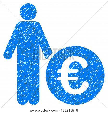 Grunge Euro Investor icon with grunge design and unclean texture. Unclean vector blue pictogram for rubber seal stamp imitations and watermarks. Draft emblem symbol.