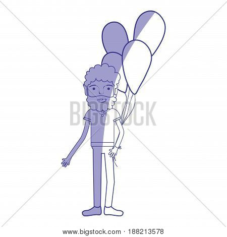 silhouette man with beard and balloons in the hand, vector illustration