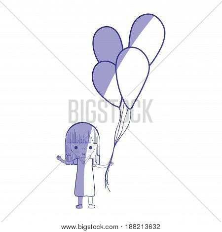 silhouette, cute girl with balloons in the hand, vector illustration
