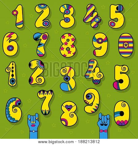 Set of Vintage Numerals. Yellow signs with bright blue and pink decor. Superhero and Disco Style. Cartoon Hands. Vector Illustration