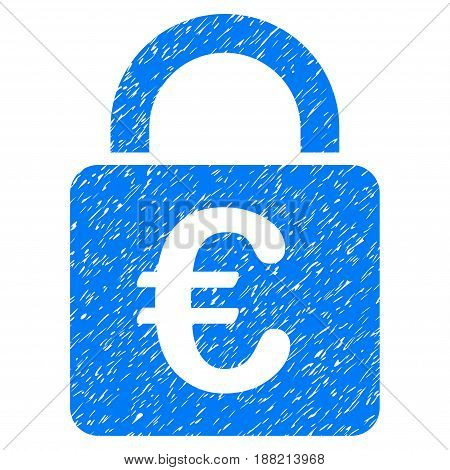 Grunge Euro Lock icon with grunge design and dirty texture. Unclean vector blue pictogram for rubber seal stamp imitations and watermarks. Draft sticker symbol.