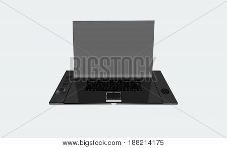 Laptop black with blank screen isolated on a gray background laptop new technology black laptop laptop vector