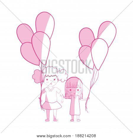 silhouette, cute girls with balloons in the hand, vector illustration