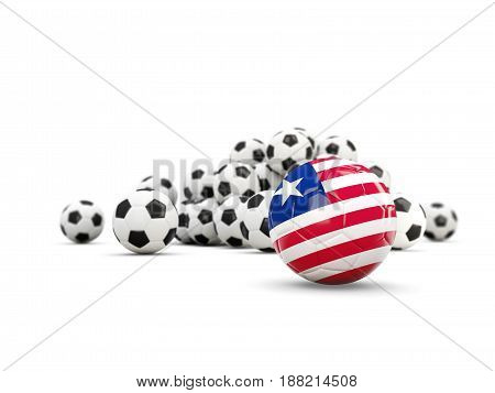 Football With Flag Of Liberia Isolated On White