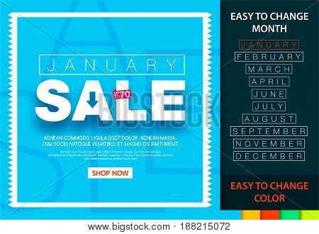 Sale banner for each month. January sale 70%. Easy change month and color.