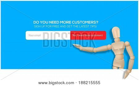 Banner design for search More customers. Vector