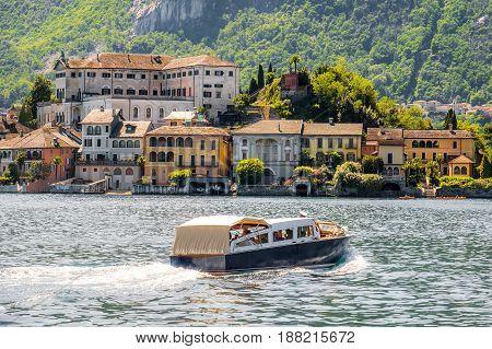 sail on italian lakes boat trip to San Giulio island in the Orta lake