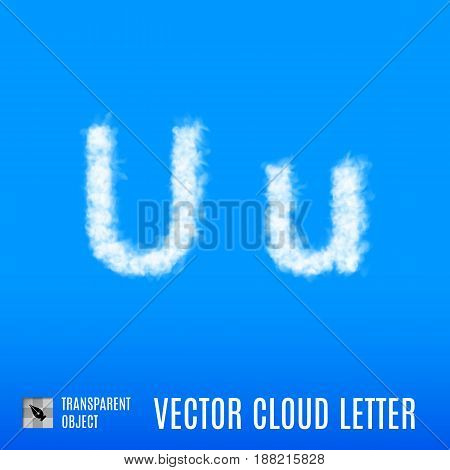 Clouds in Shape of the Letter U on Blue Background