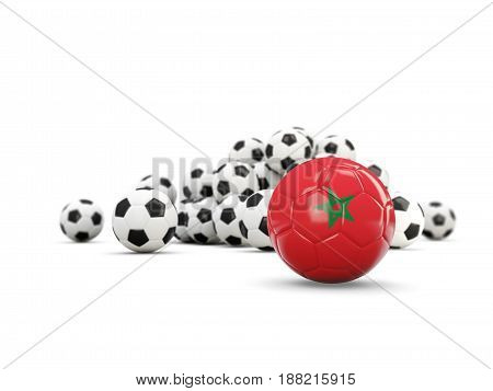 Football With Flag Of Morocco Isolated On White