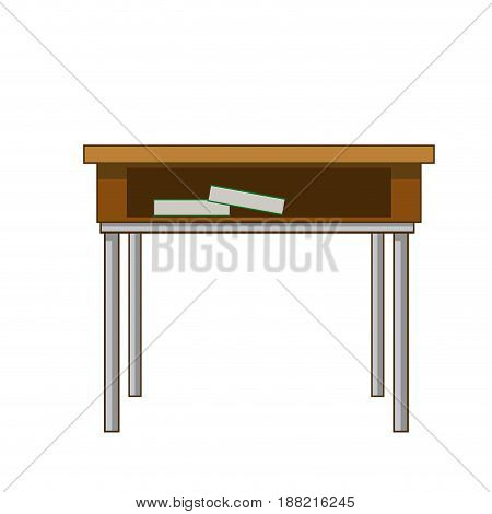 school table with books class design vector illustration