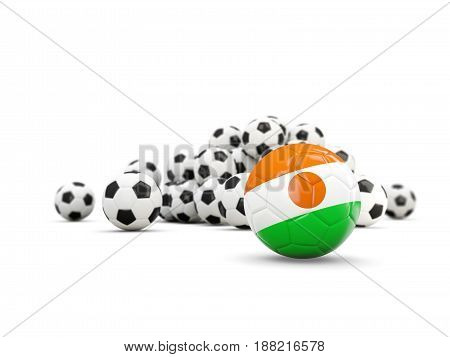 Football With Flag Of Niger Isolated On White