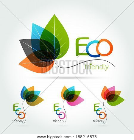 Green leaf logo design. Four leaves health environmental logo. Green Leaf logo health icon on white background vector illustration