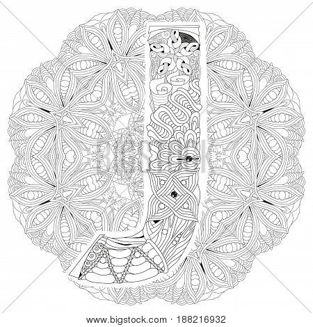 Hand-painted art design. Adult anti-stress coloring page. Black and white hand drawn illustration mandala with letter J for coloring book