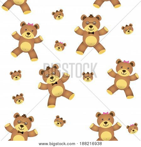 teddy bear seamless isolated on white background. vector illustration