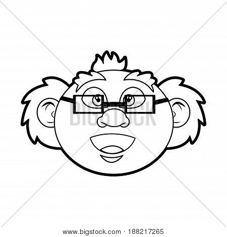 cartoon old professor man scientific with mustache bald vector illustration