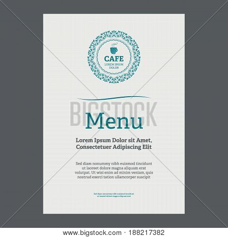 Menu page design in vintage style on white background