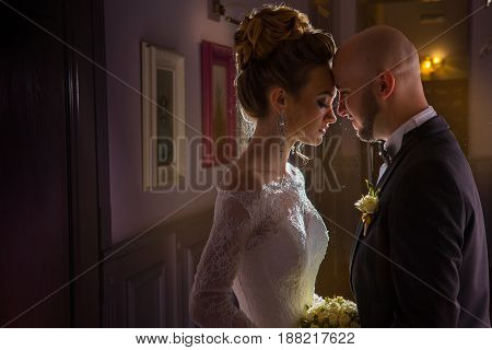 portrait of Charming young jsut merried couple
