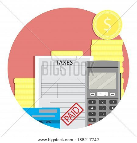 Income taxes paid. Vector tax income irs and money tax season illustration