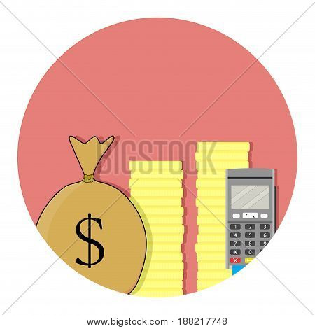 Transfer of funds with credit card. Transfer money remittance and bank transfer with terminal. Vector illustration