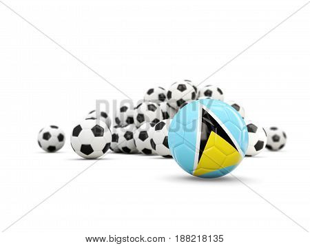 Football With Flag Of Saint Lucia Isolated On White