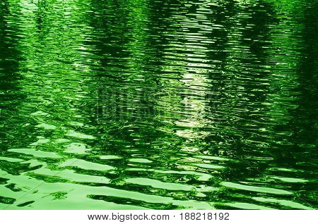 Abstract Background Of Rippled Water Toned Green