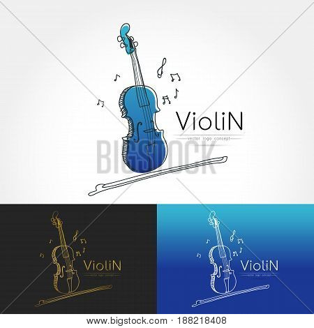 Modern linear thin flat design. The stylized image of Violin. classic music festival logo Template for covers logo posters invitations on white background Vector illustration