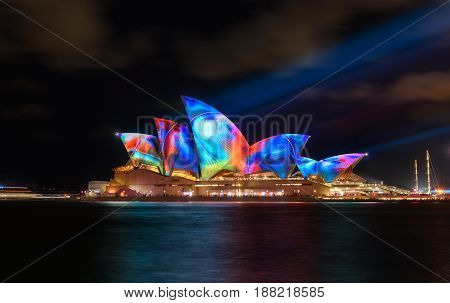Sydney Opera House With Illuminated Vivid Colourful.