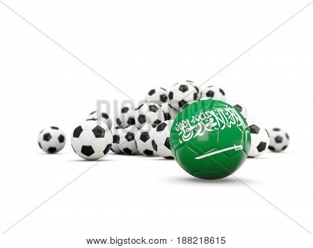 Football With Flag Of Saudi Arabia Isolated On White