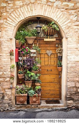 The beautiful wooden door in the old stone house decorated with lots of flowers and plants in pots. Edited as a vintage photo.