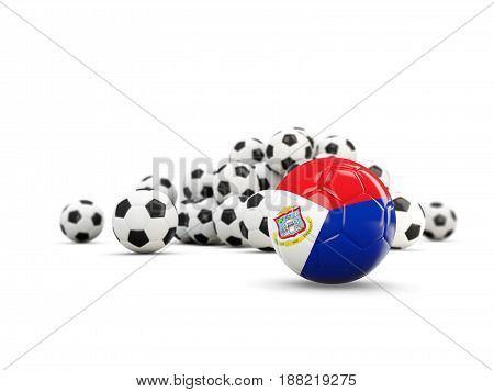 Football With Flag Of Sint Maarten Isolated On White