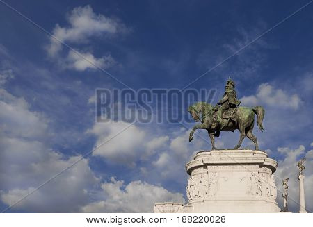 First King of Italy equestrian statue with clouds from the Altar of Nation monument in Rome made by italian sculptor Chiaradia in 1910