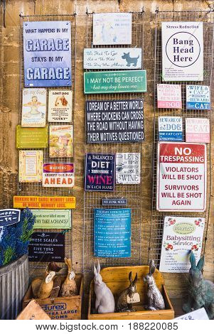Burford England - 7 April 2017 - Old and antique decoretive items display at a local souvenir shop in Burford England on April 7 2017