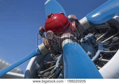 biplane propeller close-up view with the head in focus