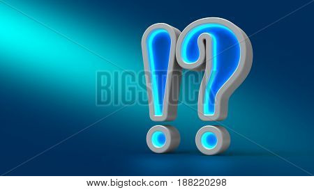 Glowing Neon Big Exclamation Question On The Table, On Blue Background,