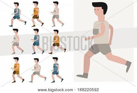 jogging man. Vector illustration sport run activities.