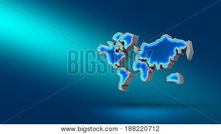 World On Blue Background. 3D Illustration. Set For Design Presentations.