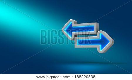 Tab Arrowe On Blue Background. 3D Illustration. Set For Design Presentations.