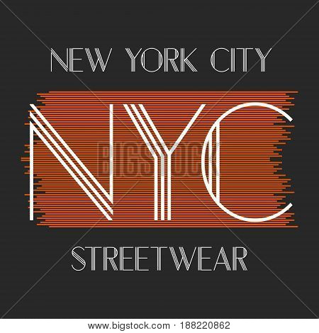 New York city art. Street graphic style NYC. Fashion stylish print.  Handwritten banner, logo or label. Colorful hand drawn phrase