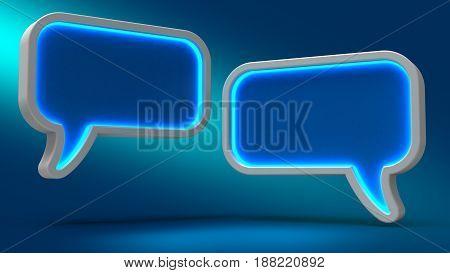 Bubble On Blue Background. 3D Illustration. Set For Design Presentations.