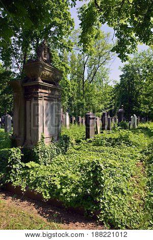 Prague Czech Republic-23 May 2017: New Jewish Cemetery in Prague