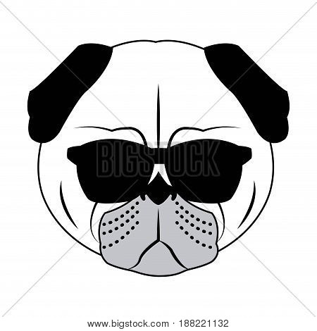 Portrait of a pug dog in glasses and a bow tie. Vector picture with the inscription