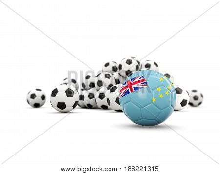 Football With Flag Of Tuvalu Isolated On White