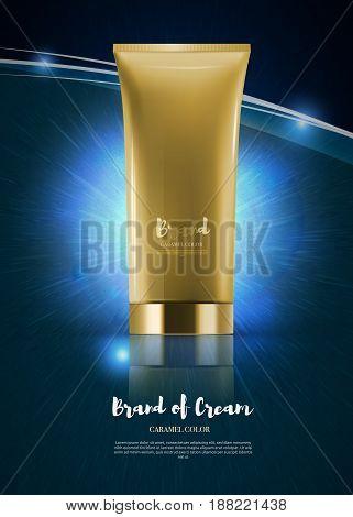 Blank Plastic Cosmetic Cream Tubes. Advertising poster template. EPS10 Vector. Golden tube on shining dark blue background.