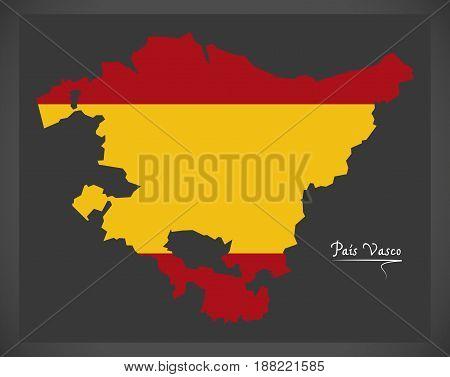 Pais Vasco Map With Spanish National Flag Illustration