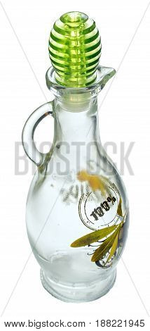 Empty glass bottle for oil with a blurred pattern and inscription 100% isolated on a white background. The bottle is with a handle and green cap.