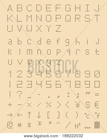 perforated font in retro style, dotted machine type