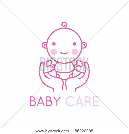 Avector Logo Design Element And Emblem - Baby Care And Love Concept - Happy Newborn In Mother's Hand