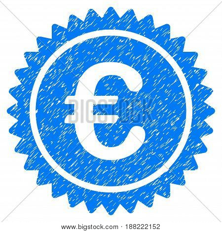 Grunge European Quality Stamp icon with grunge design and dirty texture. Unclean vector blue pictogram for rubber seal stamp imitations and watermarks. Draft emblem symbol.
